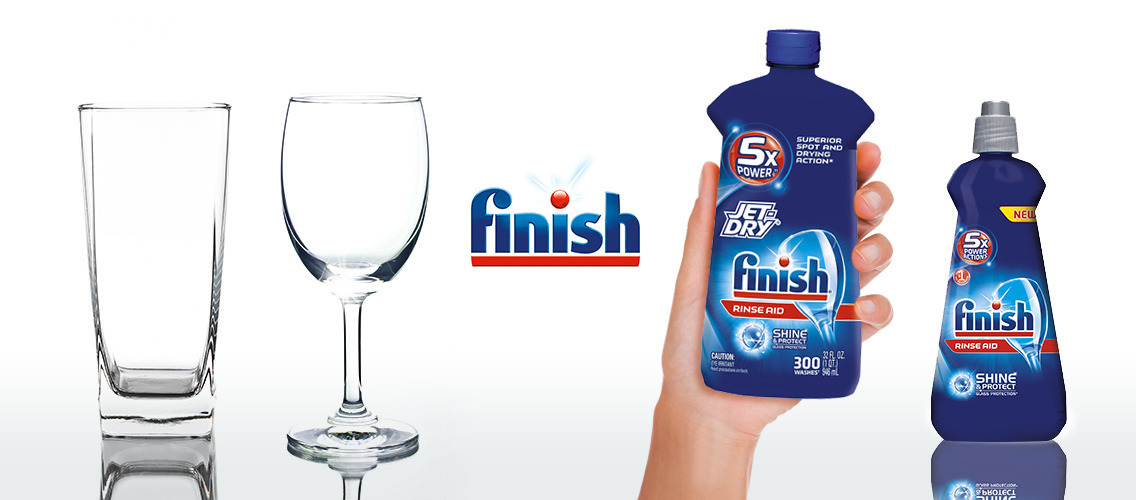 In a real-life demo idea, show how Finish Rinse Aid makes dishes shinier and drier.