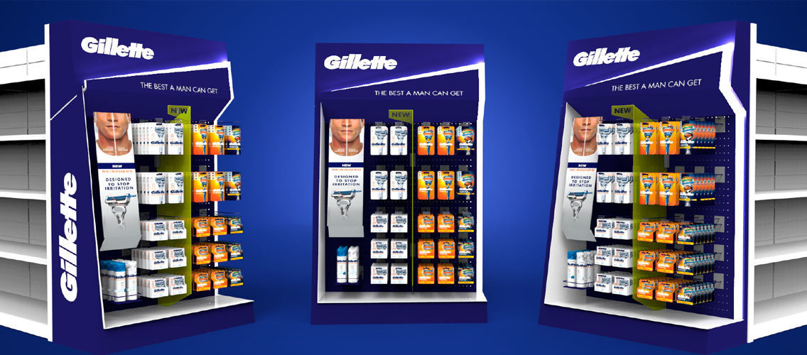 WOW men with your design for Gillette's new generation of in-store displays!