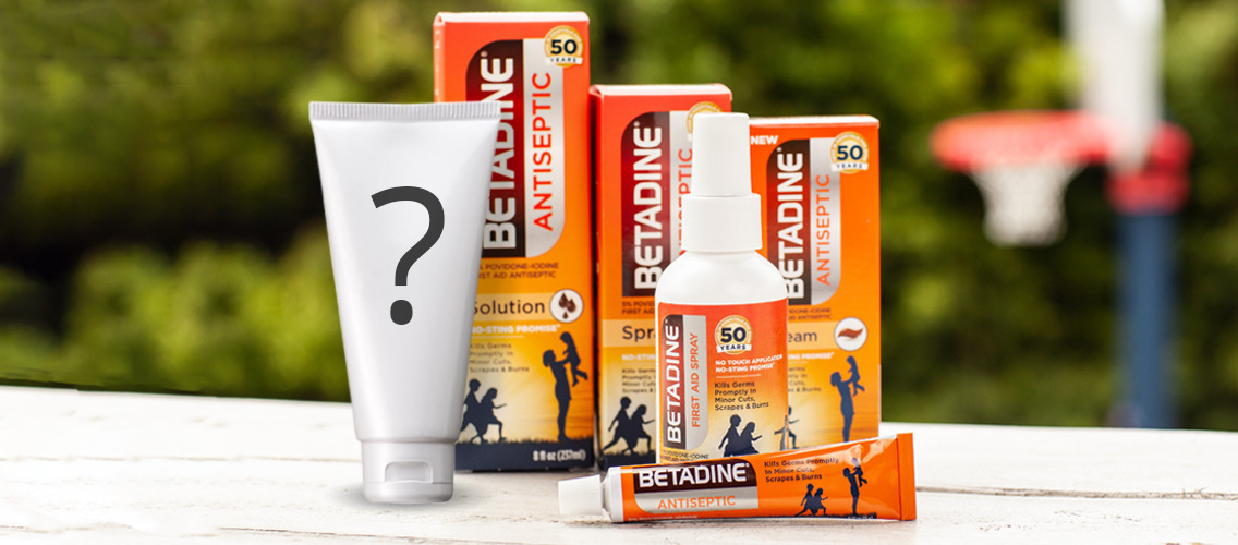 Find a creative name and an impactful tagline for the new Betadine product: the water-based gel!