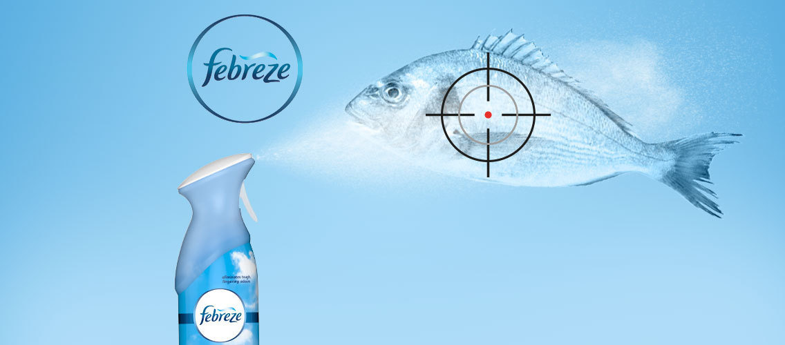 Visually bring alive Febreze aerosol spray's benefit of cleaning away the odor and not just simply masking it.