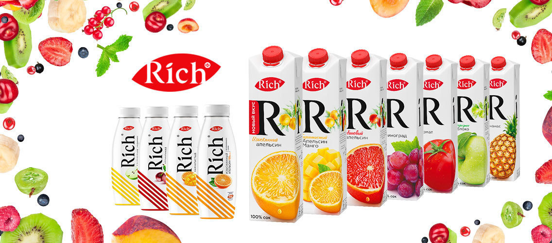 Help premium juices brand Rich stand out on shelf with your unique graphic design.